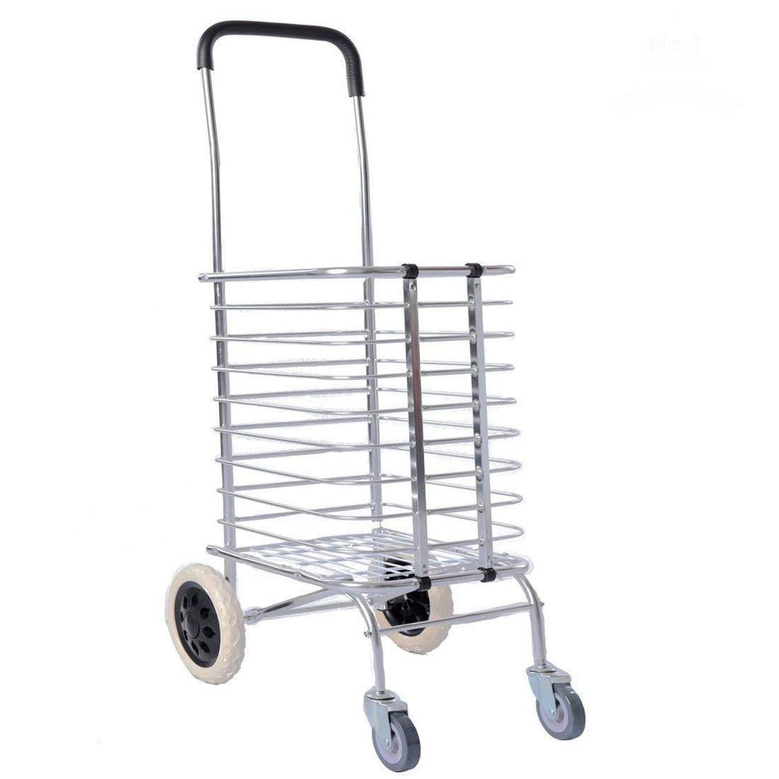 #1 Heavy Duty & Super Lightweight Aluminum Fold-able Shopping Cart Push Trolley Dolly for Groceries & Laundry - New Design Only 7 lbs