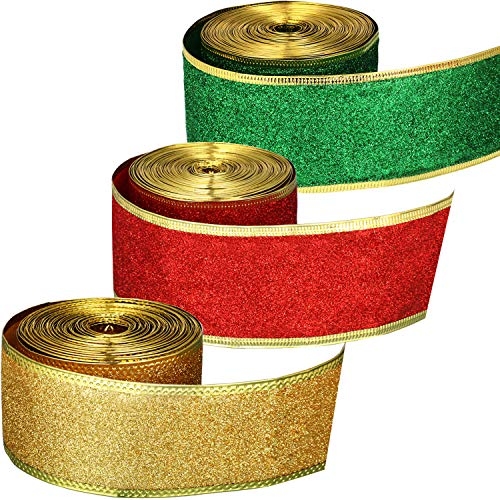 Pangda 3 Rolls Christmas Ribbon 2 Inch Shimmer Ribbons Glitter Gift Wrapping Ribbons with Artificial Gold Wired Edge for DIY Craft, 33 Yards Totally
