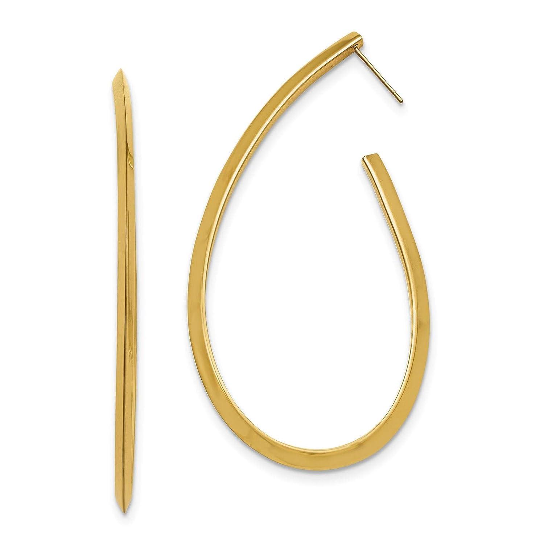 Stainless Steel Yellow IP-plated Hoop Polished Oval Hoop Post Earrings
