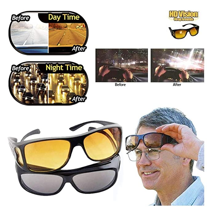 d727bd2ff042 2 Hd Vision Wraparounds Sunglasses And Night Vision Glasses Combo Pack:  Amazon.in: Clothing & Accessories