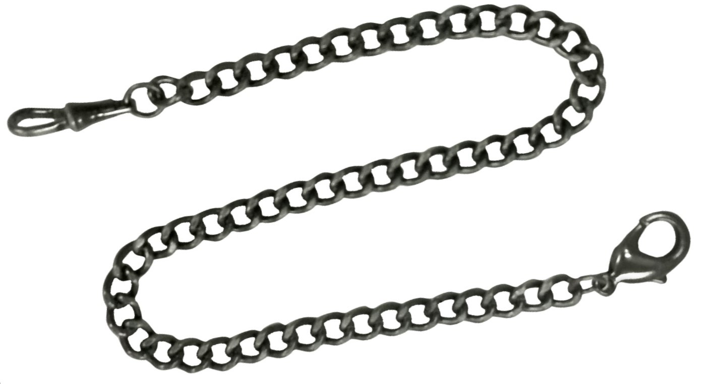 Chain for Pocket Watch FOB Curb Link Design Bronze Grayish Black 14 inches by ShoppeWatch PC-76BK