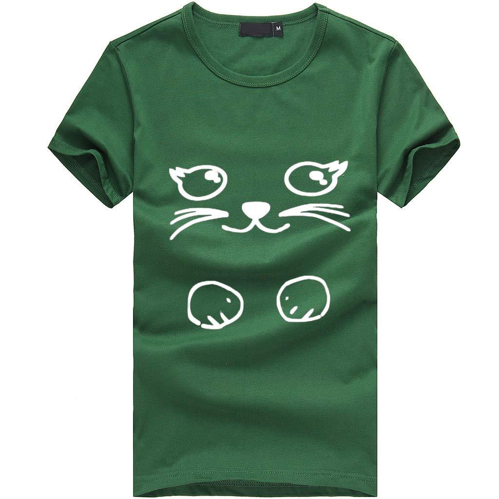 Womens O-Neck Summer Cute Cat Print Tops Short Sleeve T-Shirts Blouse Green