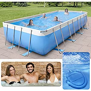Piscina Spa fuera Terra 320 x 220 cm H100 CM New Plast Pool & Spa 350 Kit Azul/Blanco