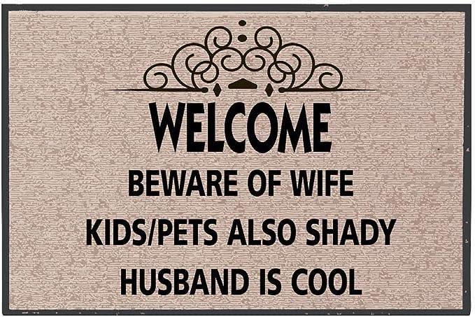 Flocked Pets Beware of Wife Dog is Friendly Printed Coir Doormat