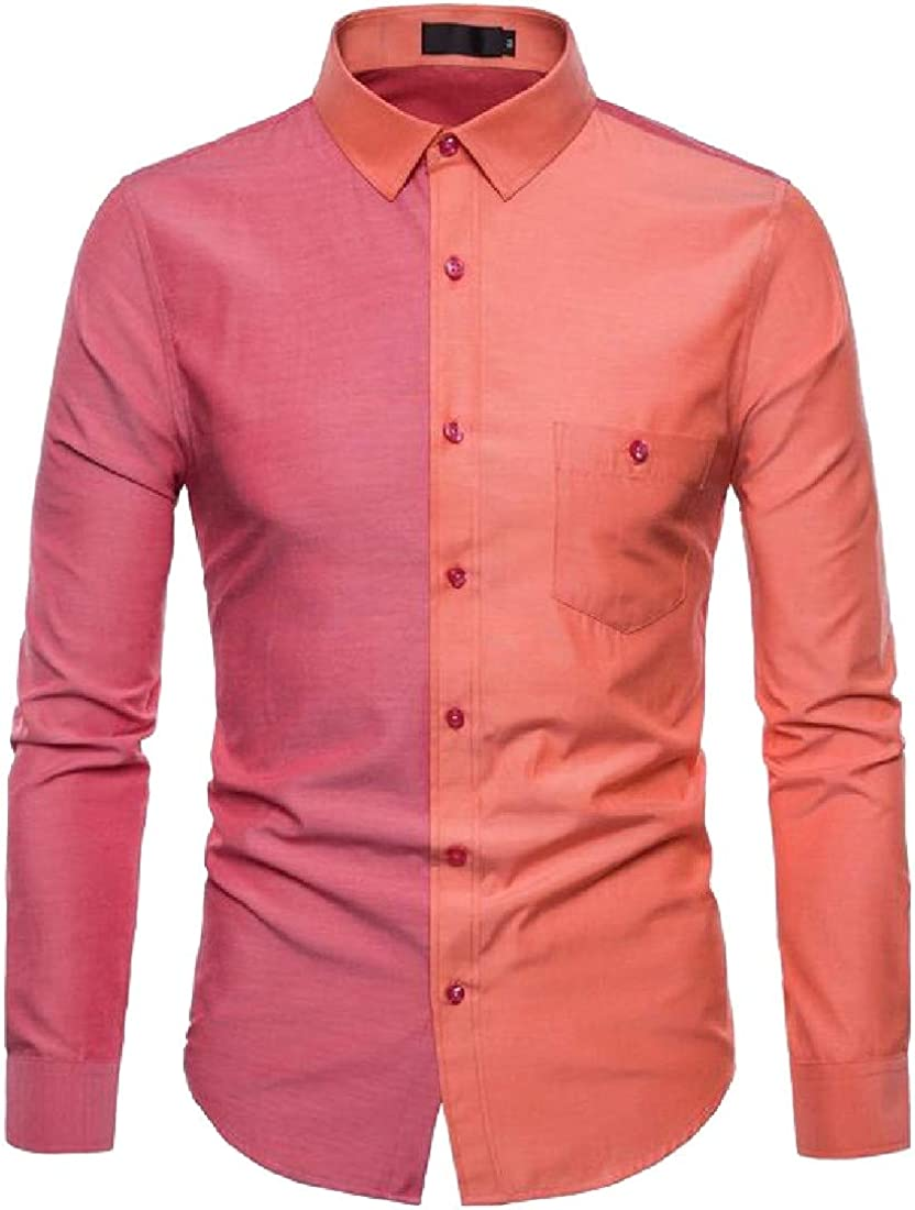 Sweatwater Men Curved Hem Lapel Neck Summer Contrast Color Button Down Shirts