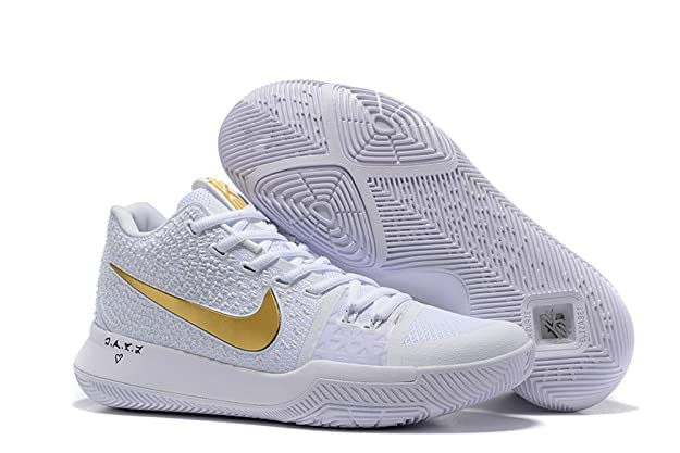 fd339c52b2e LYZO Basketball Shoes Men s Kyrie 3 White Gold Sneakers 10 D(M) US 44EU   Amazon.ca  Sports   Outdoors