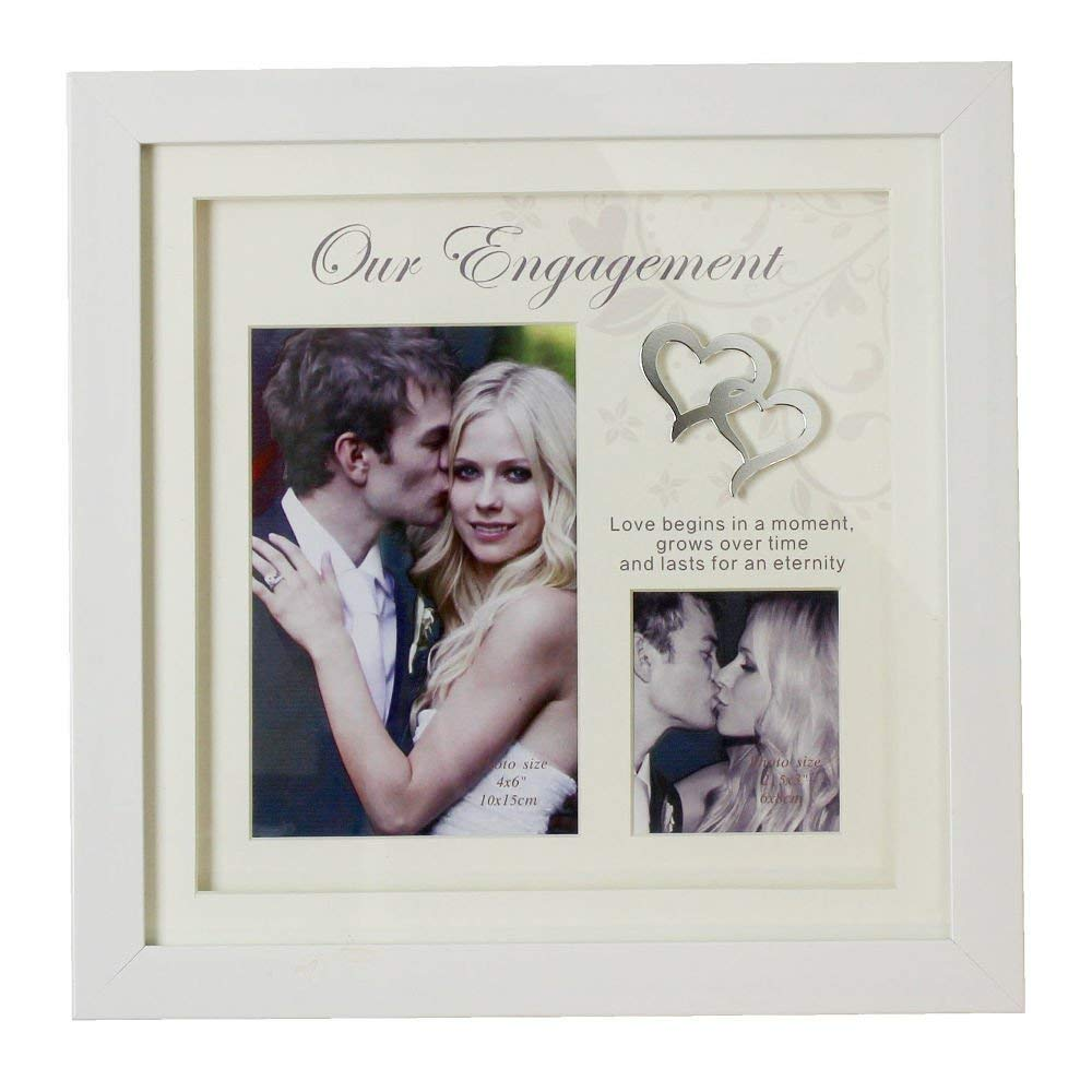 4 x 6 and 2.5 x 3 Sweet and Elegant Our Engagement Square Double Photo Frame by Haysom Interiors WI-WG728