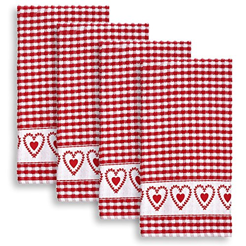 Cackleberry Home Joyful Hearts Terrycloth Kitchen Towels 100% Cotton, Set of 4 (Red Terry Cloth)
