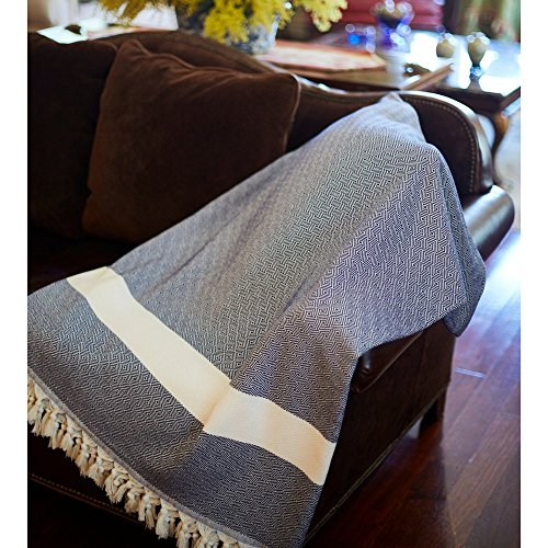 Ultra Poolside Cushion (100% Cotton Throw Blanket - Ultra Premium Natural Soft Hypoallergenic Luxury Large Sized Blanket for Couch Sofa Bed and Outdoors - 96