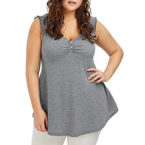 Blusas y camisas para mujer, blusas sexys de mujer tallas grandes Camisetas sin Mangas para