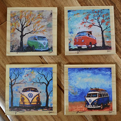 Fine Art Coasters, set of 4, VW Bus, Volkswagen Bus, drink coaster, wood, distressed, car, camper bus, fathers day, hippie, gift, man, men, present