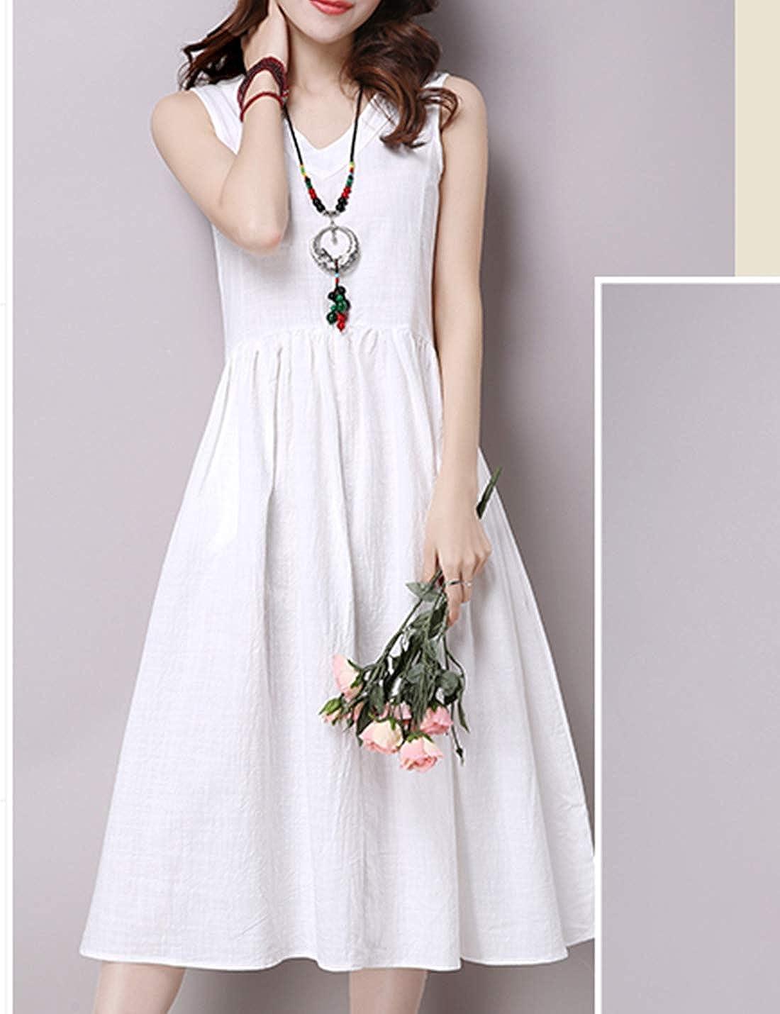Tanming Womens Sleeveless V Neck Cotton Linen Pleated Below Knee Dresses