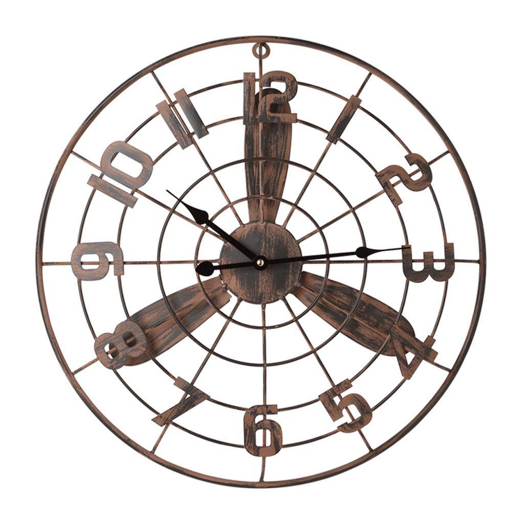 レトロ時計クリエイティブファンの壁時計のバー居間の壁のチャート屋内の壁装飾的な壁の時計のベッドルームサイレントクォーツ時計 B07FC5TN3J