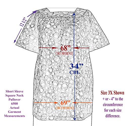 A Personal Touch Women's Plus Size Provence Short Sleeve Square Neck Pullover Top - 5X