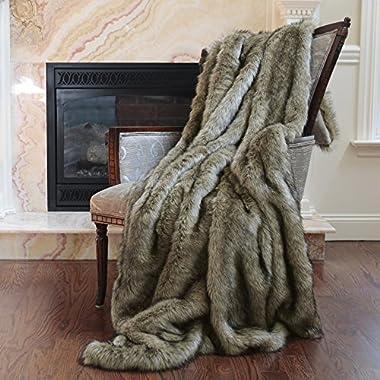 Best Home Fashion Faux Fur Throw - Full Blanket - Tawny Fox - 58 W x 84 L - (1 Throw)