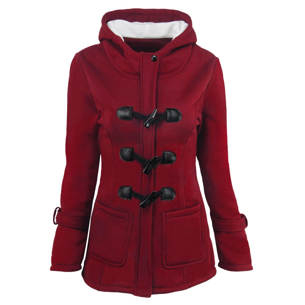 YYFS Women's Hooded Winter Coat Wool Blended Jacket Warm Outdoor Parka for Ladies