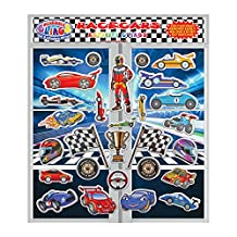 Racecars Reble Fun Puffy Stickers for Kids and Toddlers by Incredible Gel and Window Clings (28 Piece Set) - Great Activity for Home, Travel on Planes or Cars - Formula One, Nascar and More