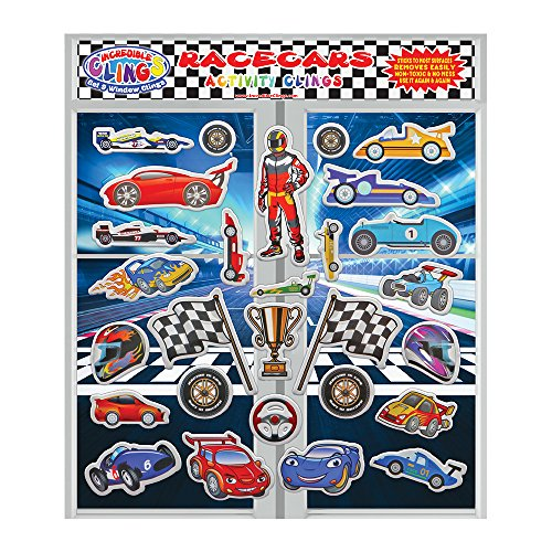 Great Decal Set Planes (Racecars Reusable Fun Puffy Stickers for Kids and Toddlers by Incredible Gel and Window Clings (28 Piece Set) - Great Activity for Home, Travel on Planes or Cars - Formula One, Nascar and More)