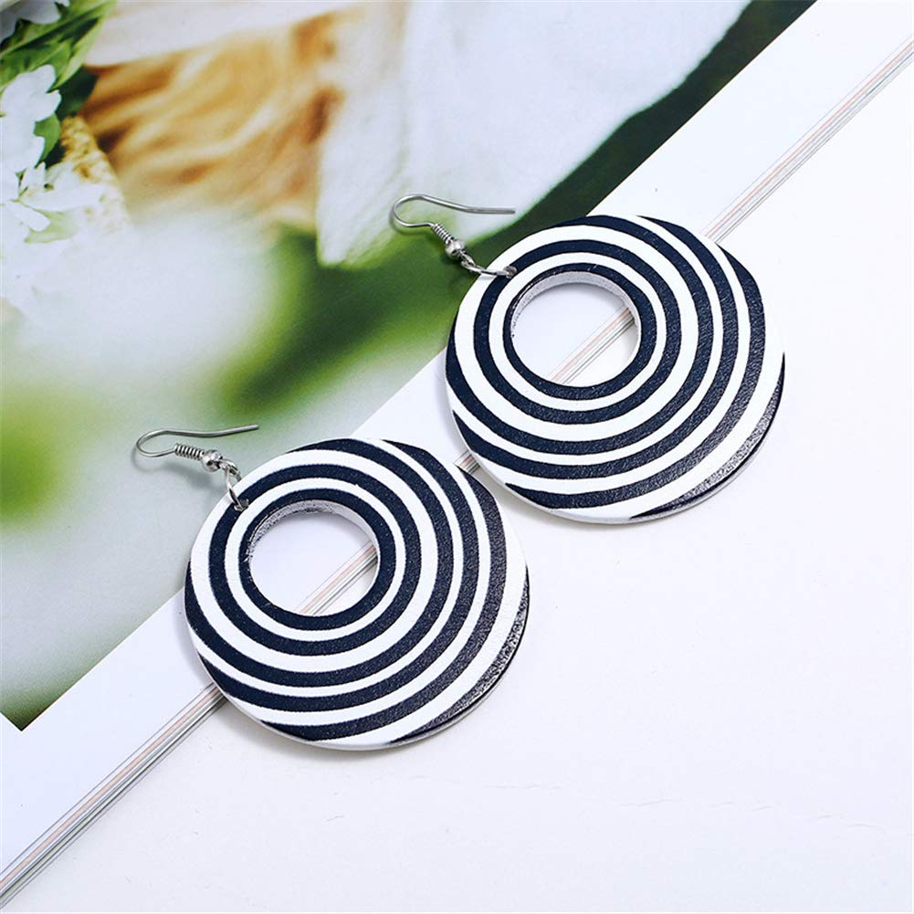 SIVITE Black White Circular Stripes Wood Earrings Boho Ethnic Wooden Earrings Statement Drop Earrings