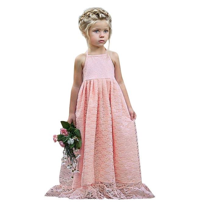 LEvifun Vestito Principessa per Ragazza Elegante Floreale Fiore Pizzo Abiti  da Sera Matrimonio Tulle Lungo Festa 2e805f1e599