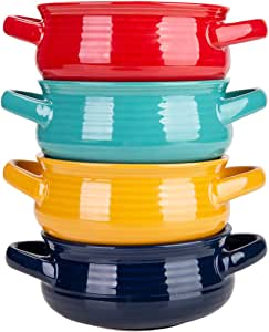 Cutiset 20 Ounces ceramic bowls set with handles for Soup, Cereal, Stew, set of 4, multicolor