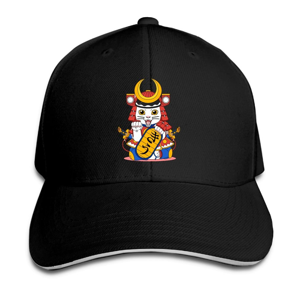 Unisex Japanese Samurai Cat Art Sandwich Peaked Cap Adjustable Cotton Baseball Caps