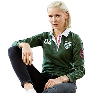 dd82c58c2 Amazon.com: Ladies Three Shamrock Irish Rugby Shirt, Green,: Clothing