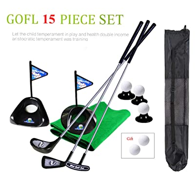 Portable Children Golf Club Set Toy Flag Mat Golf Practice Balls 15 Pieces Sports Indoor Outdoor Golf Game for Kids with Backbag: Toys & Games [5Bkhe1805494]