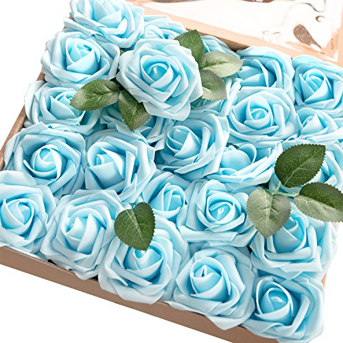 Blue Flower Rose (ling's moment Artificial Flowers Blue Roses 50pcs Real Looking Fake Roses w/Stem for DIY Wedding Bouquets Centerpieces Arrangements Party Baby Shower Home Decorations)