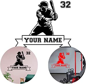 Baseball Player Hitter Swinging Wall Stickers Sport Man cave Personalize Name & Number Vinyl Sticker Decal - Decor Wall Art Mural Car Windows Home Decoration Bedroom (Choice 3)