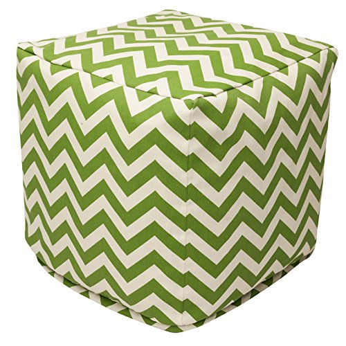 Majestic Home Goods Sage Chevron Indoor Outdoor Bean Bag Ottoman Pouf Cube 17 L x 17 W x 17 H