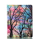 Alfort iPad 2/3/4 Case, iPad 2/3/4 Cover, 3D Painting iPad Case Cover Flip Fold PU Book Wallet Case for iPad 2/3/4 Image Colorful Trees