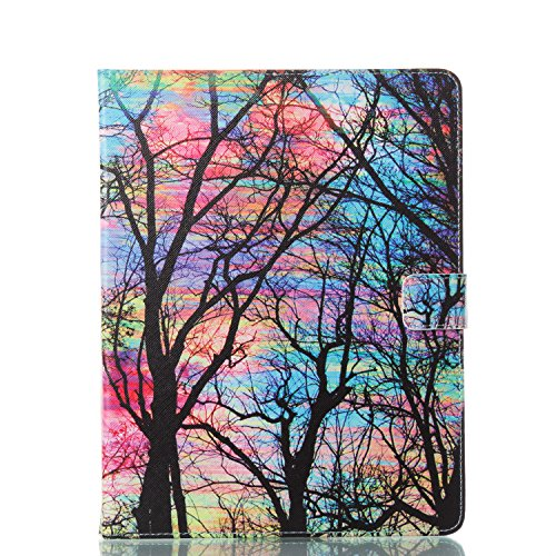 Alfort iPad 2/3/4 Case, iPad 2/3/4 Cover, 3D Painting iPad Case Cover Flip Fold PU Book Wallet Case for iPad 2/3/4 Image Colorful Trees by Alfort