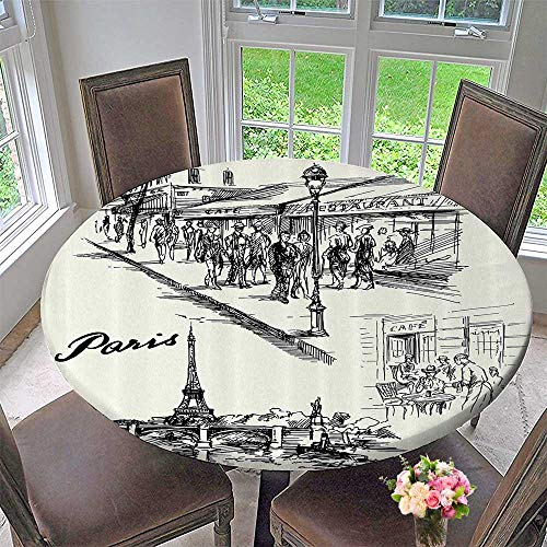 Mikihome Round Table Tablecloth Paris Sketch Style Cafe Restaurant Landmark Canal Boat Streetlamp Retro 47.5