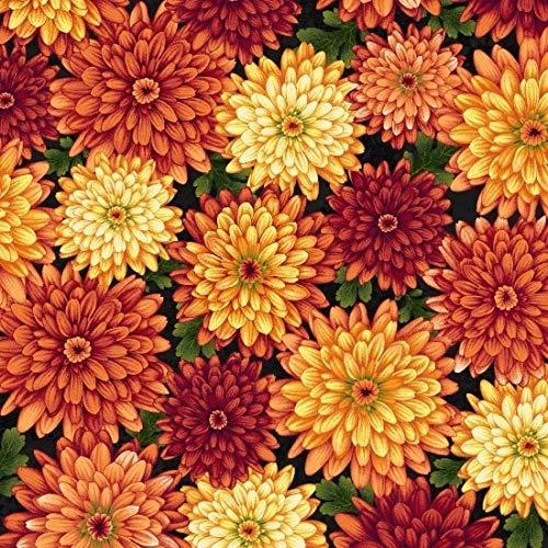 Henry Glass Autumn Album Chrysanthemums Black Fabric by The Yard,