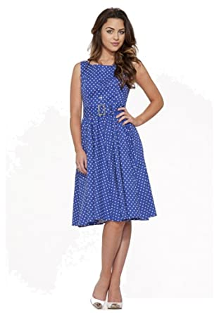 Hearts Roses London Blue White Polka Dots 50s Style Sleeveless
