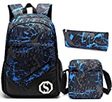 School Backpacks for Boys, Teens Girls Unisex School Bookbag Set 3 Pieces Travel Daypack (Blue 1)