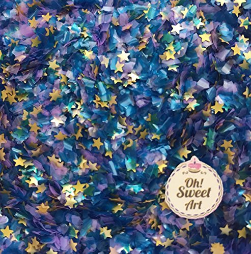 EDIBLE GLITTER Pick Up your COLOR 1/4 oz. flakes, stars, for cakes,for cupcakes, for cookies By Oh Sweet Art (Frozen Blue)