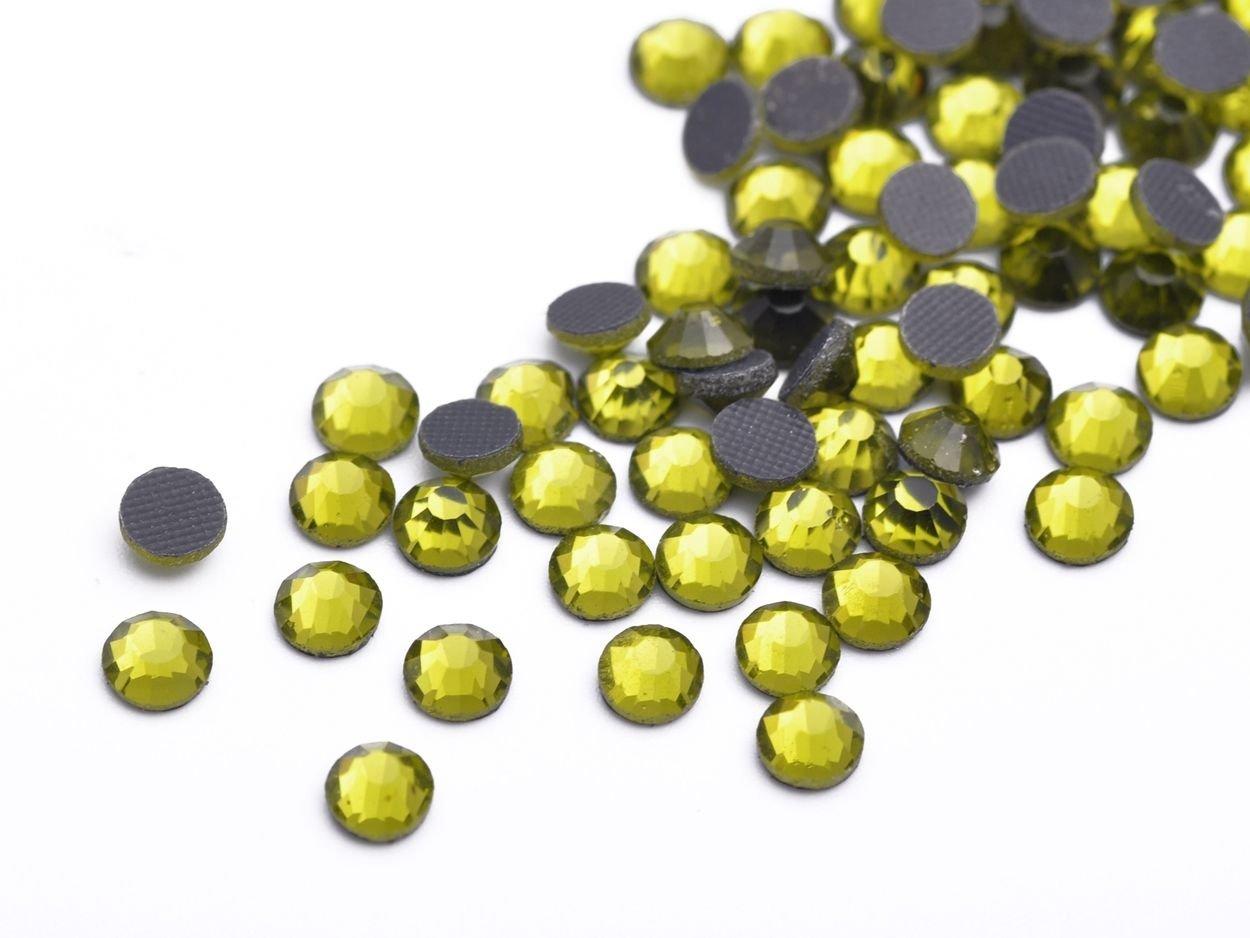 Olive Green SS20-5MM-12Facets-500Pcs SS10 SS16 SS20 SS30 SS40 Hotfix Rhinestones Iron-on Flatback Crystal Glass DMC