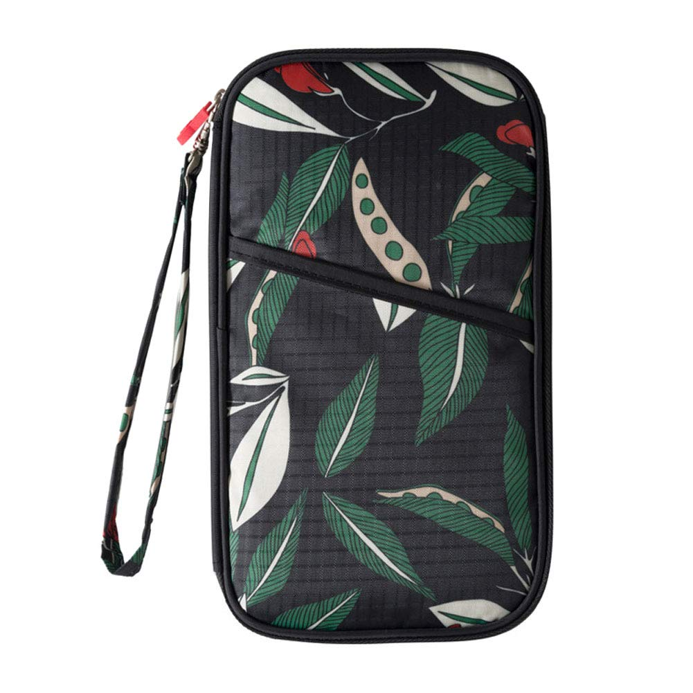 S3, Flower Black Travel Passport Wallet for Men Women,Welegant Multi-Purpose Passport Holder and Travel Document Organizer Purse Handbag