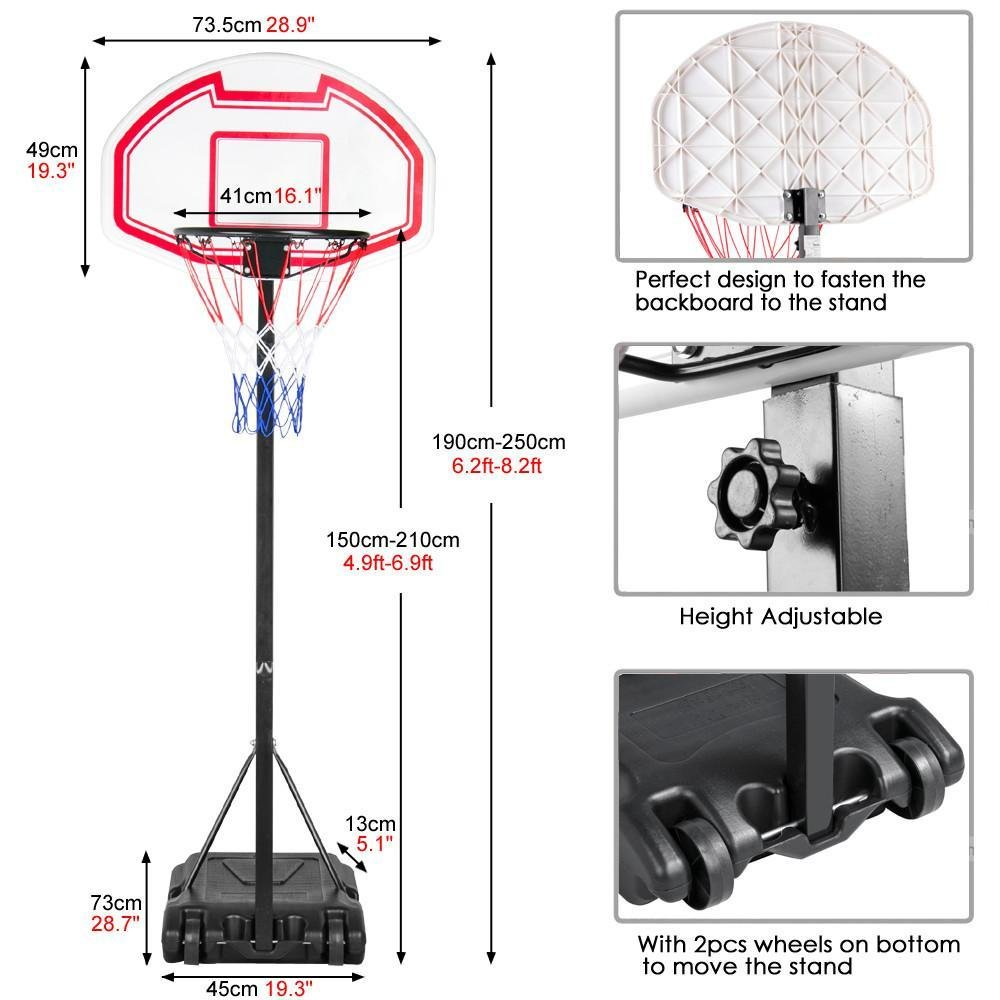 Amazon.com : Yaheetech Height Adjustable Basketball Hoop System Portable  Kids Junior Indoor Outdoor Net Goal Stand 29 Inch Backboard W/Wheels :  Sports & ...