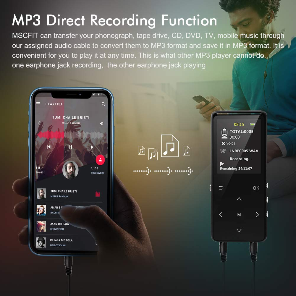 MP3 Player 32GB MP3 Players with Bluetooth AUX Burning Double Earphone Jack Sports Armband Sleep