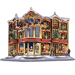 Thomas Kinkade Memories Of Christmas Story Windows Village Holiday Sculpture by The Bradford Exchange