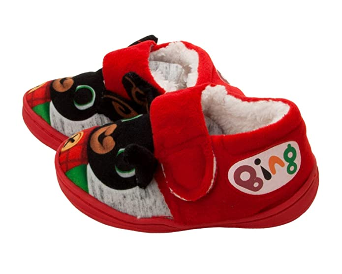 BOYS GIRLS OFFICIAL CBEEBIES 3D BING BUNNY TOUCH FASTEN MULES SLIPPERS UK 5-10