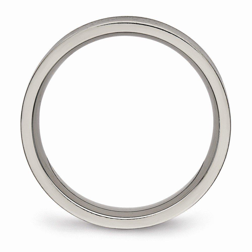 Titanium Polished Grooved Comfort Back Ring Size 10 Length Width 5