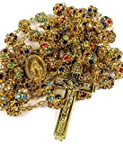 Golden Rosary Catholic Necklace Colorful Zircon Beads Cross & Miraculous Medal