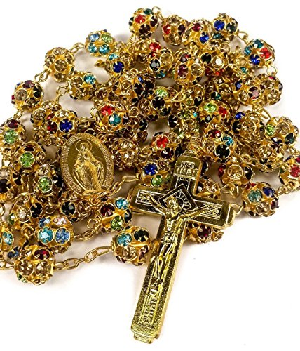 Golden Rosary Catholic Necklace Colorful Zircon Beads Cross & Miraculous Medal by Holy Land Gifts