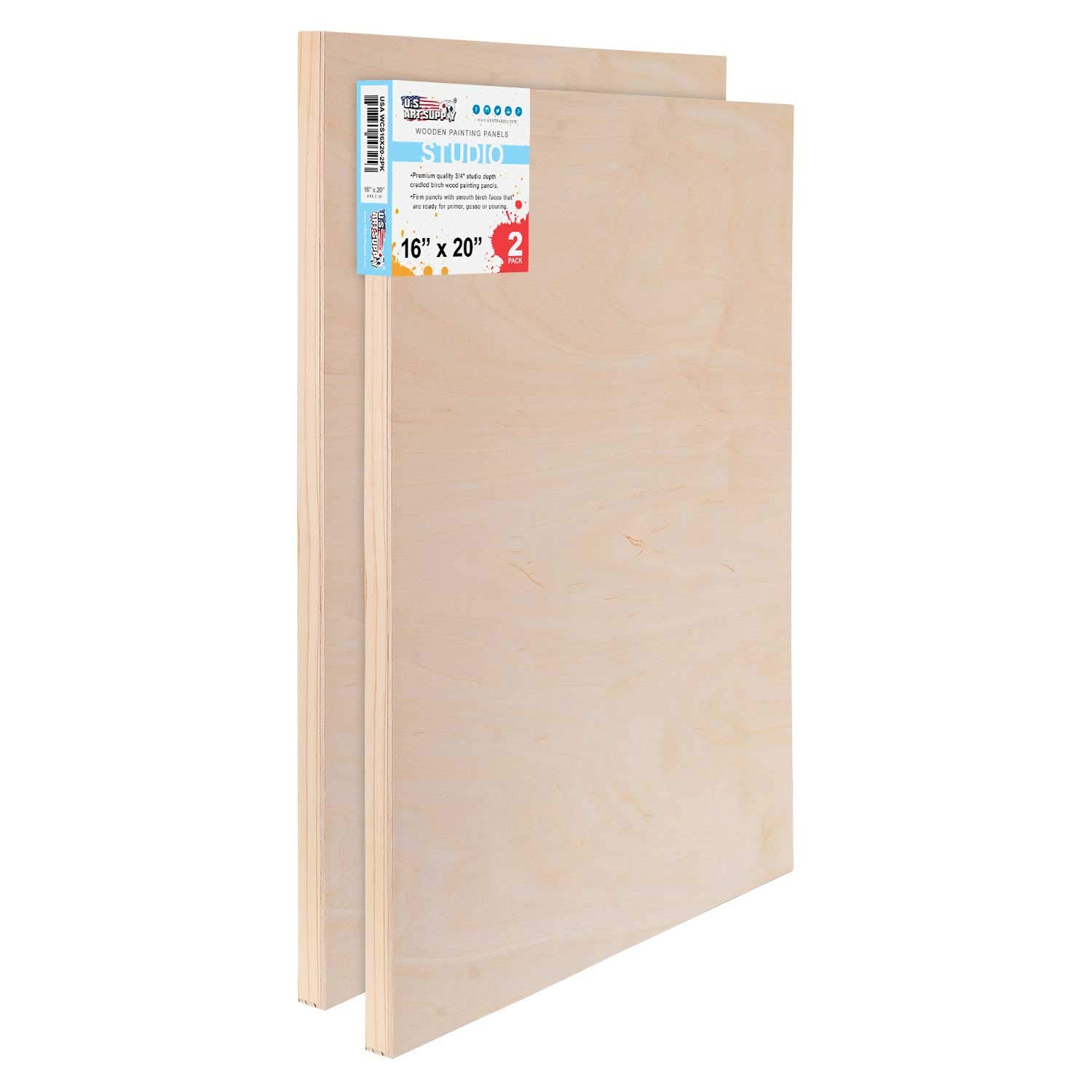 U.S. Art Supply 16'' x 20'' Birch Wood Paint Pouring Panel Boards, Studio 3/4'' Deep Cradle (Pack of 2) - Artist Wooden Wall Canvases - Painting Mixed-Media Craft, Acrylic, Oil, Watercolor, Encaustic