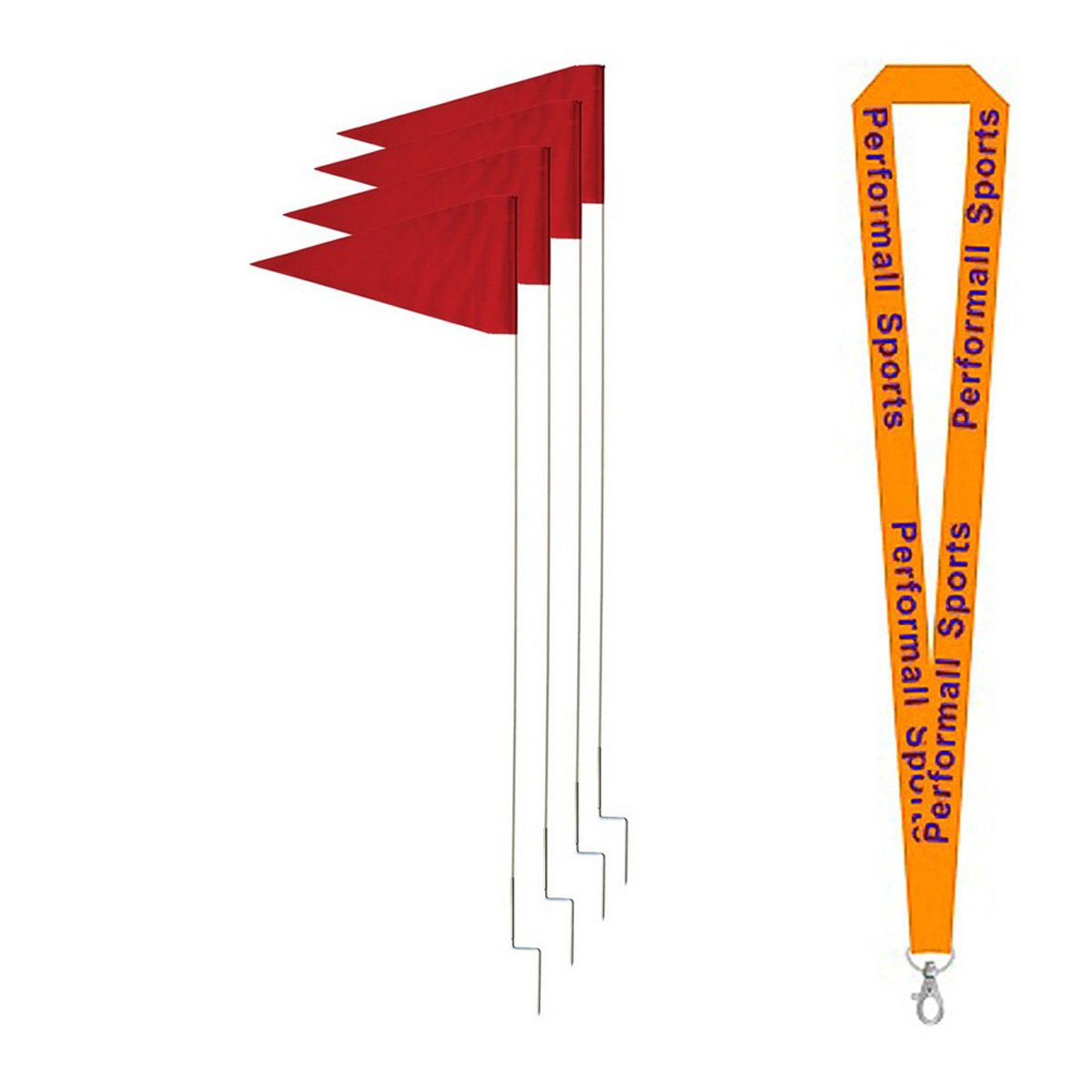 Champion Sports Skill Corner Marker Set Red (Set of 4) Bundle with 1 Performall Lanyard SCM4-1P