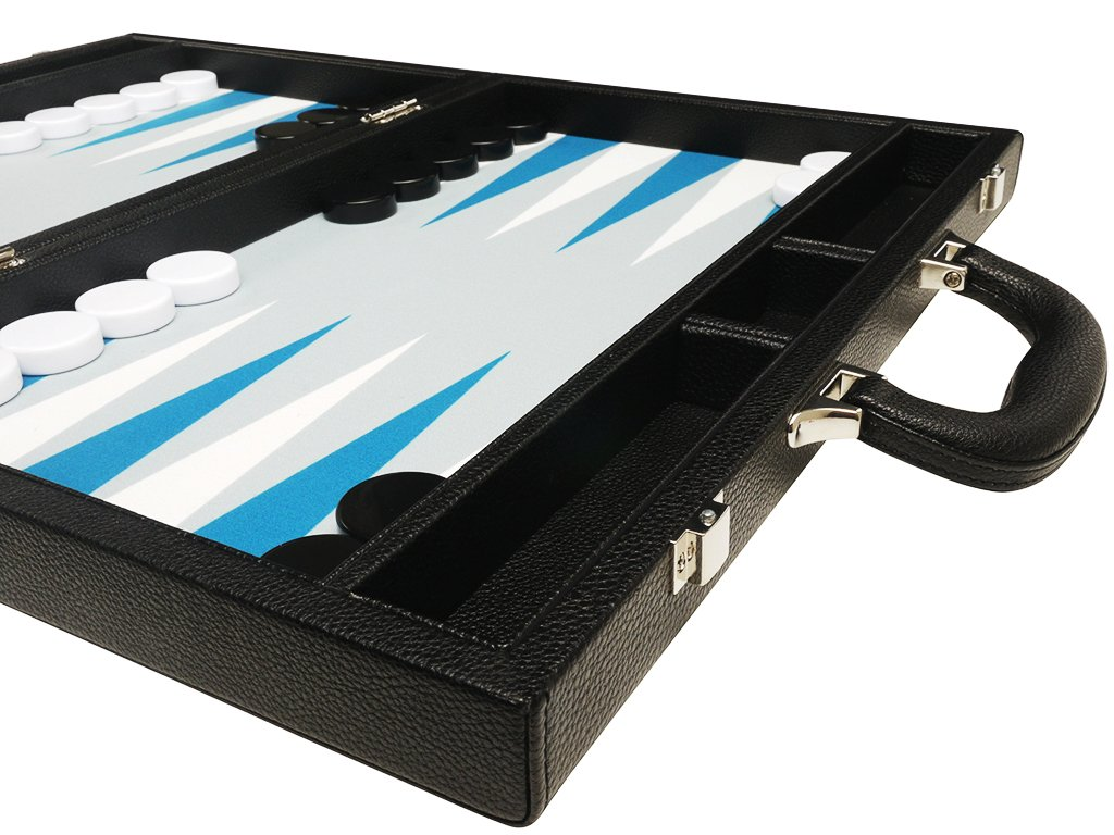 19-inch Premium Backgammon Set Large Size Silverman /& Co Black with White and Astral Blue Points